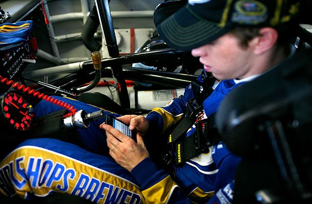 Brad Keselowski tweets from his race car.