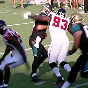 Jacksonville Jaguars quarterback Blake Bortles sacked by Atlanta Falcons defensive end Malliciah Goodman