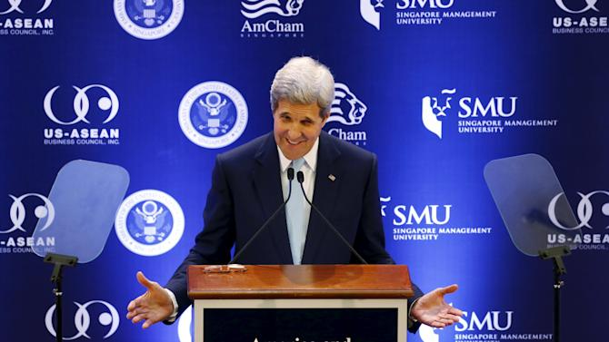 U.S. Secretary of State John Kerry delivers a speech at a university in Singapore