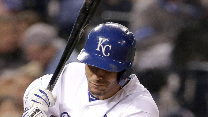 Kansas City Royals' Paulo Orlando is hit by a pitch from Tampa Bay Rays reliever Brandon Gomes during the sixth inning of the second game in a baseball doubleheader Tuesday, July 7, 2015, in Kansas City, Mo. (AP Photo/Charlie Riedel)