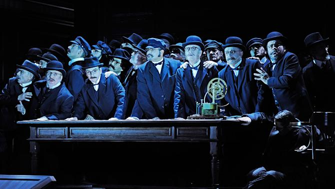 "In this undated photo provided by the Opernhaus Zurich the choir performs on stage during a dress rehearsal for Richard Wagner's opera ""Der fliegende Hollaender"" (The Flying Dutchman) at the opera in Zurich, Switzerland. (AP Photo/Opernhaus Zurich/T+T Fotografie/Toni Suter + Tanja Dorendorf)"
