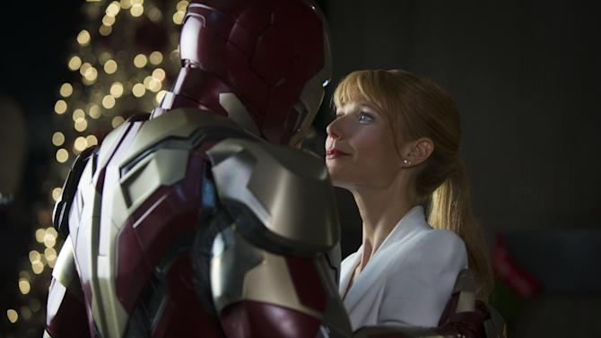 """This undated publicity photo released by Marvel shows Robert Downey Jr., left, as Tony Stark/Iron Man and Gwyneth Paltrow, as Pepper Potts, in a scene from """"Marvel's Iron Man 3."""" (AP Photo/Marvel, Zade Rosenthal)"""