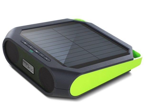 This rugged, portable wireless sound system generates power with a solar panel