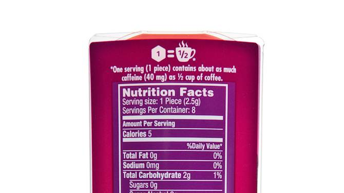 This product image provided by the Wm. Wrigley Jr. Company shows the back of packaging showing the nutritional facts for Alert Energy Caffeine Gum. (AP Photo/Wm. Wrigley Jr. Company)