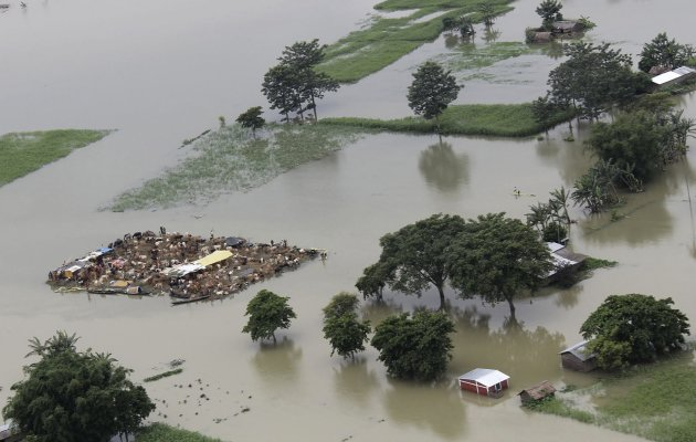 A view of flood-affected people with their domesticated animals stranded on an islet in a flooded area of the Sonitpur district in Assam