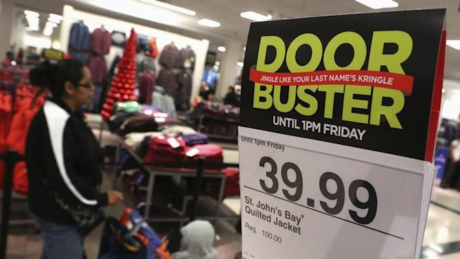 A Black Friday sale advertisement is posted inside a J.C. Penney store at the Glendale Galleria in Glendale, California