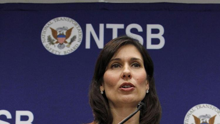 National Transportation Safety Board (NTSB) Chair Deborah Hersman speaks during a news conference in Washington, Thursday,  Feb. 7, 2013, to provide an update on the NTSB's investigation into the Jan. 7 fire that occurred on a Japan Airlines Boeing 787 at Logan International Airport in Boston. (AP Photo/Ann Heisenfelt)