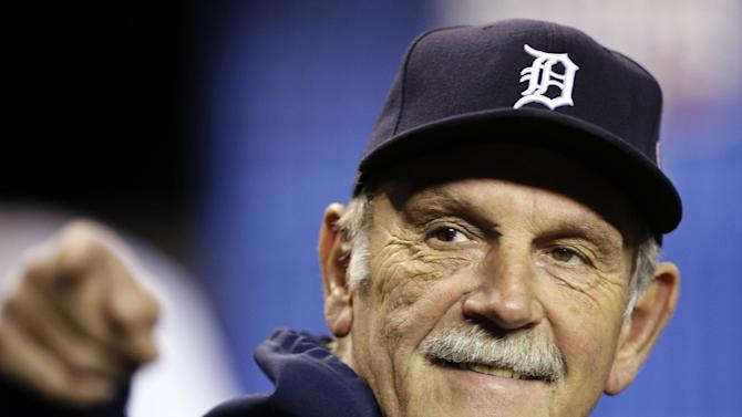 FILE - In this Oct. 27, 2012, file photo, Detroit Tigers manager Jim Leyland gestures before Game 3 of baseball's World Series against the San Francisco Giants in Detroit. Leyland arrived at the Tigers' training camp Monday, Feb. 11, 2013, in Lakeland, Fla., exactly 50 years after he first showed up there as a pencil-thin 18-year-old prospect. (AP Photo/Matt Slocum, File)
