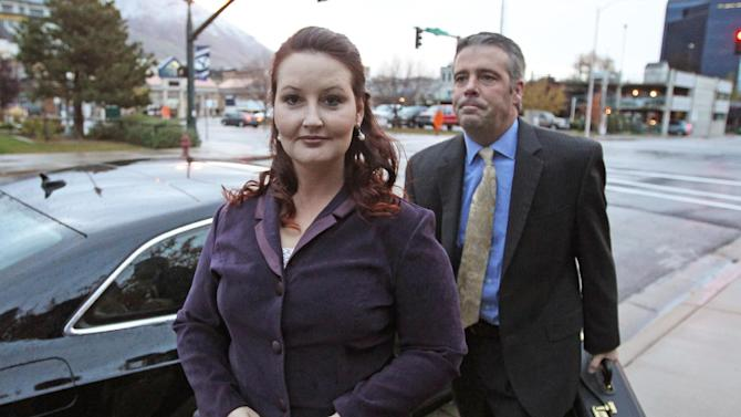 Gypsy Willis arrives at court Tuesday, Oct. 29, 2013, in Provo, Utah. Willis, the mistress of Martin MacNeill was at his murder trial Tuesday as prosecutors try to prove she was MacNeill's motive for leaving his heavily drugged wife to die in a bathtub. Prosecutors say they will press Gypsy Willis on what she knows about Michele MacNeill's 2007 death. Willis traded text messages with the doctor 30 times that day, she acknowledged Friday before the trial broke for a long weekend. (AP Photo/Rick Bowmer)