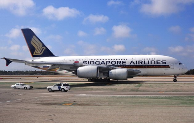 A Singapore Airlines Airbus A380 made an emergency landing in Azerbaijan on Monday due to a loss of cabin pressure but no one was injured, the carrier said. (Getty Images)