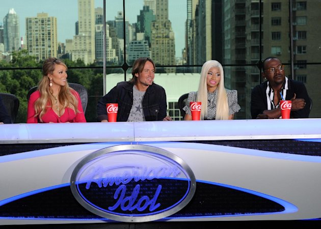This image released by Fox shows the new judges for the singing competition series, &quot;American Idol,&quot; from left, Mariah Carey, Keith Urban, Nicki Minaj and Randy Jackson during a news conference in New York on Monday Sept. 17, 2012. (AP Photo/FOX, Michael Becker)