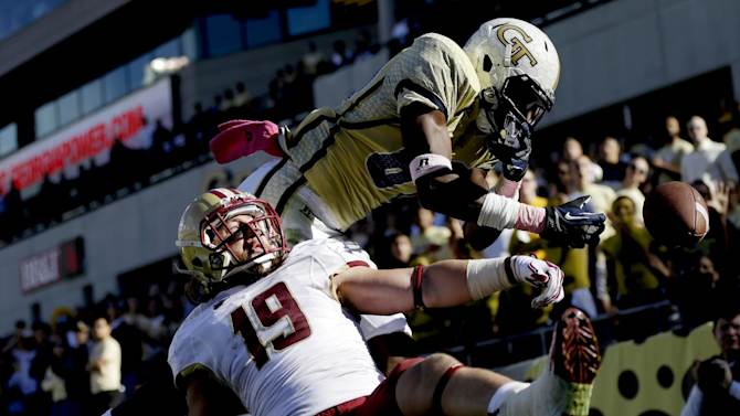 A pass intended for Georgia Tech wide receiver Jeff Greene, right, is broken up by Boston College defensive back Sean Sylvia during the second quarter of an NCAA college football game, Saturday, Oct. 20, 2012, in Atlanta. (AP Photo/David Goldman)