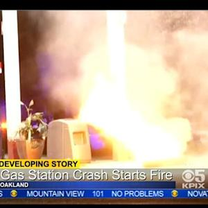 Gas Pump Fireball Caught On Tape After Oakland Crash