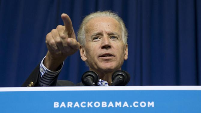 Vice President Joe Biden speaks at a campaign event Athens Community Center, Saturday, Sept. 8, 2012, in Athens, Ohio.  (AP Photo/Carolyn Kaster)