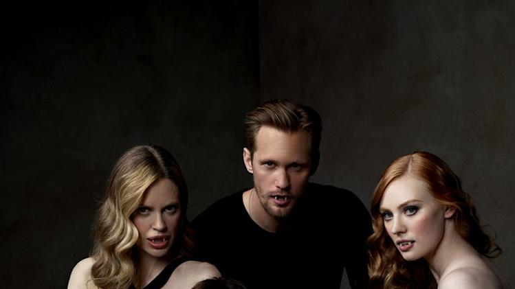 "Kristin Bauer, Alexander Skarsgard, Deborah Ann Woll, Jessica Tuck, and Stephen Moyer in ""True Blood."""