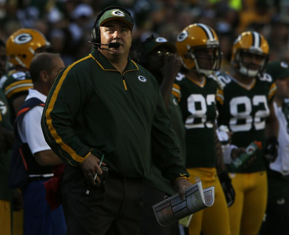 Green Bay Packers head coach Mike McCarthy is seen during the first half of an NFL football game against the San Francisco 49ers Sunday, Sept. 9, 2012, in Green Bay, Wis. (AP Photo/Jeffrey Phelps)
