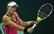 Samantha Stosur of Australia returns a ball to Klara Zakapalova of Czech Republic during the Kremlin Cup tennis tournament in Moscow. Stosur won 6-1, 6-3