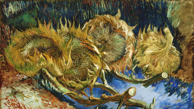 """In this photo provided by the Kroeller-Mueller Museum in Otterlo on Tuesday, Dec. 11, 2012 the 1887 painting """"Four sunflowers gone to seed"""" by Vincent van Gogh is seen.With the Van Gogh Museum in Amsterdam closed for renovations, the world's second-largest collection of the tortured Dutch master's work is stepping into the limelight. The lesser-known Kroeller-Mueller museum in the eastern Netherlands has revamped the layout of its central rooms, giving more space and focus to many of its top works. (AP Photo/ Kroeller-Mueller Museum)"""