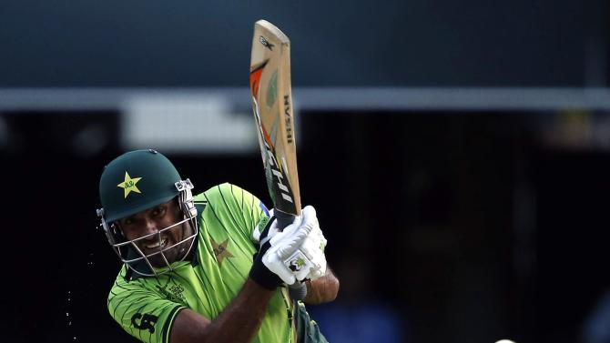 Pakistan's Wahab Riaz hits a shot during the Cricket World Cup match against Zimbabwe at the Gabba in Brisbane