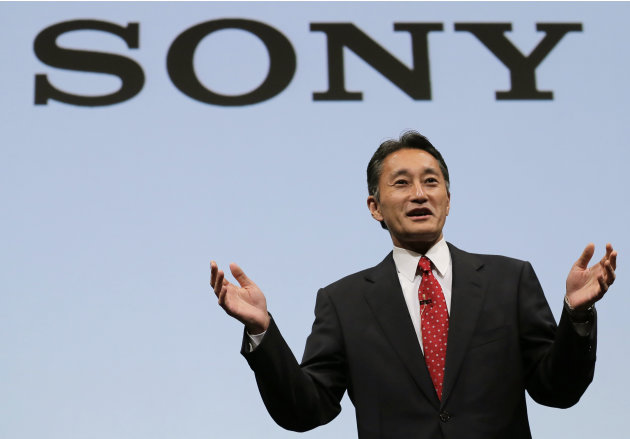 Sony President and CEO Kazuo Hirai speaks during a press conference at the Sony Corp. headquarters in Tokyo, Wednesday, May 22, 2013. Hirai said the company's board will discuss a proposal by U.S. hed