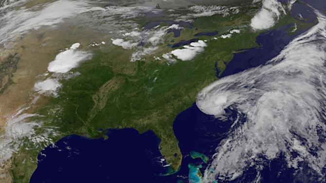 This image provided by NASA shows Subtropical Storm Beryl along the South Carolina Georgia coastlines. The image was acquired Friday May 25, 2012 at 11:30 p.m. EDT. Tropical storm warnings have been issued for the Southeast coast from north Florida to South Carolina as a cluster of thunderstorms was gathering strength Friday night and expected to become Tropical Storm Beryl over the Memorial Day weekend. The National Weather Service said that the storm's maximum sustained winds were at 45 mph. But they are expected to increase as the storm moves over the waters of the Atlantic. (AP Photo/NASA)