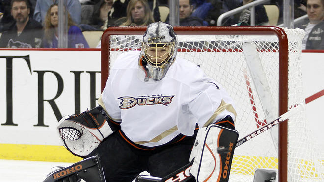 Jonas Hiller #1 Of The Anaheim Ducks Makes Getty Images