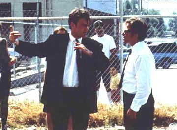 Quentin Tarantino directs Harvey Keitel on the set of Miramax's Reservoir Dogs