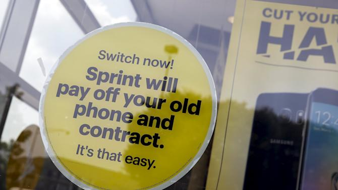 Advertisement for Sprint is seen inside one of their stores in Garden City, New York