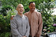 Reverend Ouyang Wen Feng (L) and his partner Phineas Newborn III smile during their wedding ceremony in Manhattan's Wedding Garden in 2011 in New York. The gay Malaysian pastor said Monday he had held a wedding banquet with his American partner despite earlier outrage by conservatives in the Muslim-majority country opposed to their union