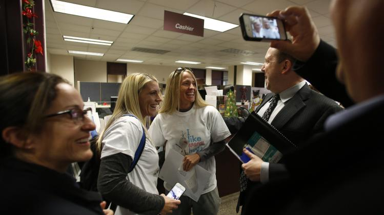 Lindi Gardiner and her partner Joanna Barney get married at the Salt Lake County Clerks office in Salt Lake City, Utah