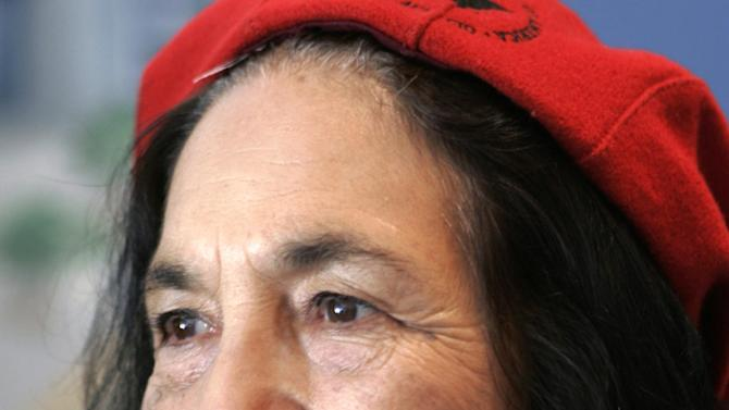 FILE - In this Sept. 4, 2008 file photo, United Farm Workers co-founder Dolores Huerta is seen in San Jose, Calif. President Barack Obama and first lady Michelle Obama will honor a diverse cross-section of political and cultural icons — including former Secretary of State Madeleine Albright, astronaut John Glenn, basketball coach Pat Summitt and rock legend Bob Dylan — with the Medal of Freedom at a White House ceremony Tuesday. The Medal of Freedom is the nation's highest civilian honor. It's presented to individuals who have made especially meritorious contributions to the national interests of the United States, to world peace or to other significant endeavors. (AP Photo/Paul Sakuma, File)