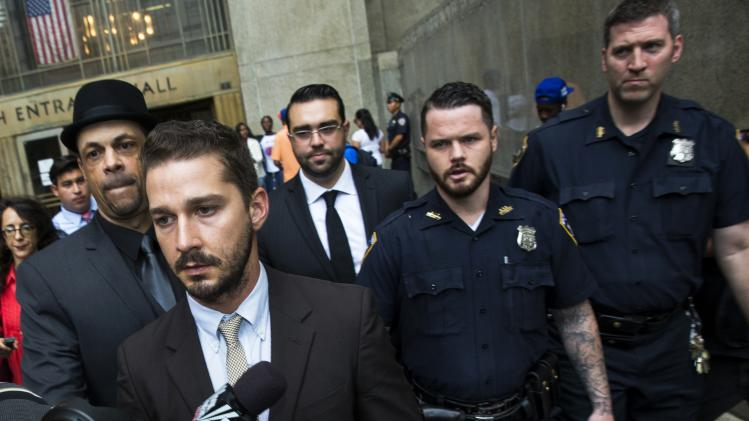 Shia LaBeouf departs after court appearance at Manhattan Criminal Court in New York