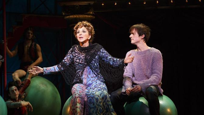 """This theater image released by Boneau/Bryan-Brown shows Andrea Martin, left, and Matthew James Thomas during a performance of """"Pippin,"""" at Broadway's Music Box Theatre in New York. """"Pippin"""" is nominated for ten Tony Awards. (AP Photo/Boneau/Bryan-Brown, Joan Marcus)"""