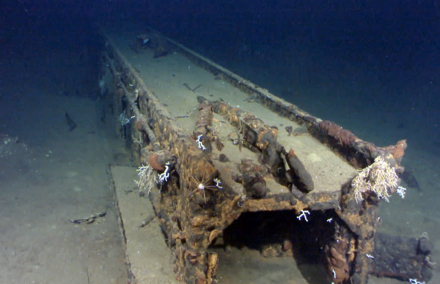 Ex-crew recognizes photos of sunken Japanese battleship