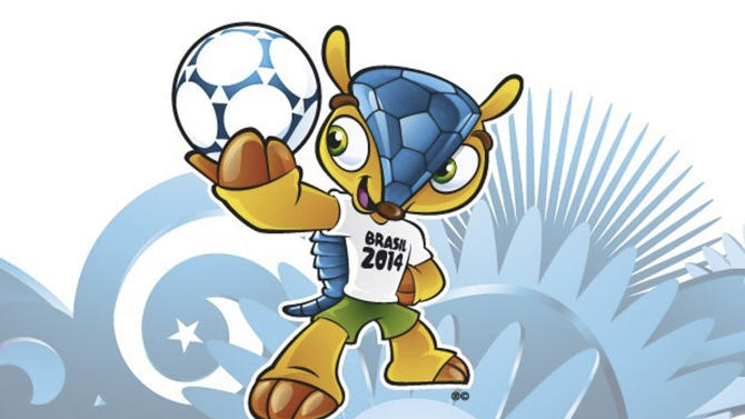 """FILE - This file image posted on the FIFA website shows the mascot of the 2014 World Cup soccer tournament. Brazilians have selected the name """"Fuleco"""" for the three-banded armadillo mascot for the 2014 World Cup after a three-month voting process that was derided by fans as undemocratic. FIFA said Sunday, Nov. 25, 2012 that more than 1.7 million people in Brazil took part in the controversial vote to select the name for the mascot. The other options were Zuzeco and Amijubi. (AP Photo/FIFA, File)"""