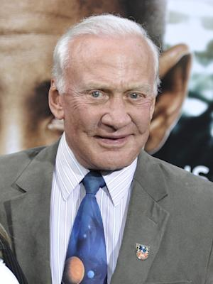 "This May 29, 2013 photo shows former astronaut Buzz Aldrin at the ""After Earth"" premiere at the Ziegfeld Theatre in New York. (Photo by Evan Agostini/Invision/AP)"