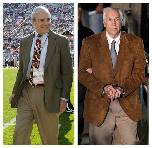 "In this photo combo, at left, in an Oct. 8, 2011 file photo, Penn State president Graham Spanier walks on the field before an NCAA college football game in State College, Pa. At right, former Penn State University assistant football coach Jerry Sandusky leaves the Centre County Courthouse in custody after being found guilty of multiple charges of child sexual abuse in Bellefonte, Pa., Friday, June 22, 2012. CNN says it has seen emails showing Spanier agreed not to take allegations of sex abuse against Sandusky to authorities but worried they'd be ""vulnerable"" for failing to report it. CNN says the emails followed a graduate assistant's 2001 report of seeing Sandusky sexually assaulting a boy in a shower. (AP Photo/Gene J. Puskar, File)"