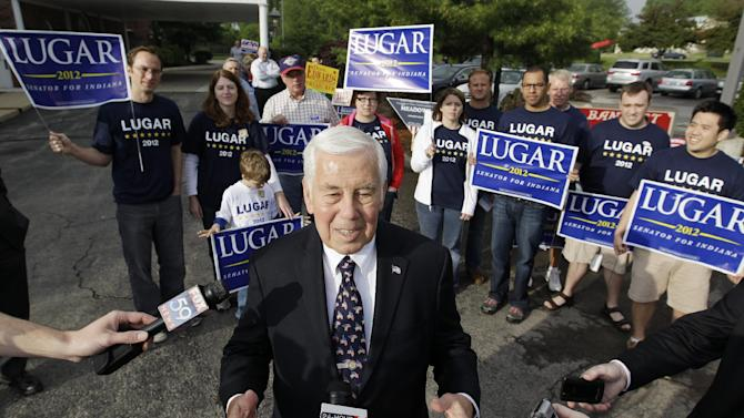 Sen. Richard Lugar responds to a question outside of a voting location Tuesday, May 8, 2012, in Greenwood, Ind. Lugar is being challenged by two-term state Treasurer Richard Mourdock. (AP Photo/Darron Cummings)