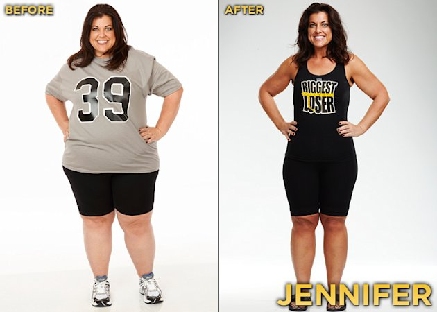 The Season 12 at-home winner of &quot;Biggest Loser&quot; and winner of the $100,000 prize is 39-year-old Jennifer Rumple. She started the competition at 330 lbs. and lost a total of 145 lbs. 