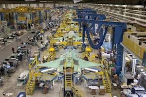 Handout photo of workers on the moving line and forward fuselage assembly areas for the F-35 JSF at Lockheed Martin Corp's factory located in Fort Worth, Texas