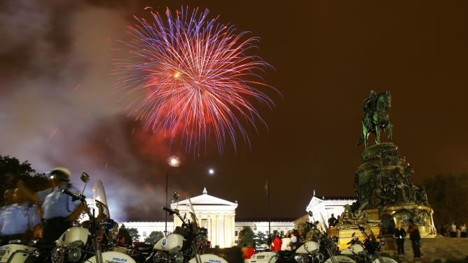 Fireworks explode over the Philadelphia Museum of Art during an Independence Day celebration, Saturday, July 4, 2015, in Philadelphia. (AP Photo/Matt Rourke)