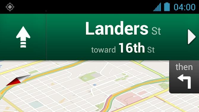 A screenshot provided by Google shows the Google Maps Navigation app for Android phones. It shows directions in San Francisco with traffic conditions in yellow and green.  (AP Photo/Google)