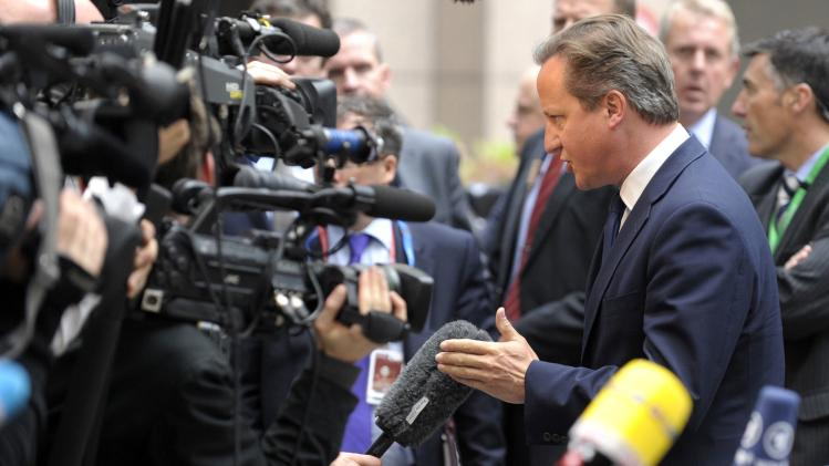 Cameron arrives at the European Council headquarters in Brussels