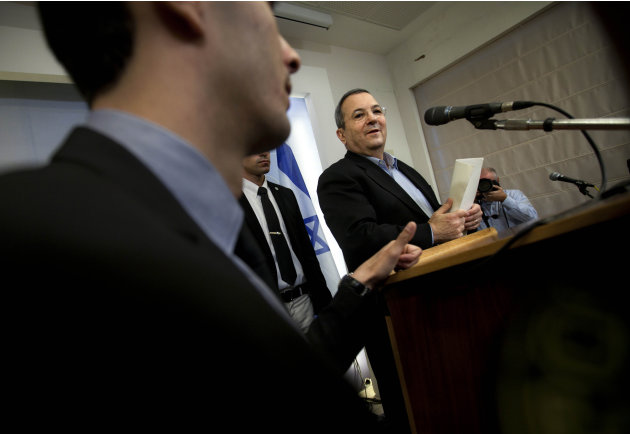 Israeli Defense Minister Ehud Barak speaks to the media in Tel Aviv, Monday, Nov. 26, 2012. Barak shook up the Israeli political system Monday with the abrupt announcement that he is quitting politics