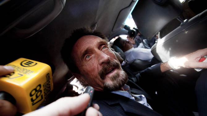 McAfee released in Guatemala, flies off to Miami
