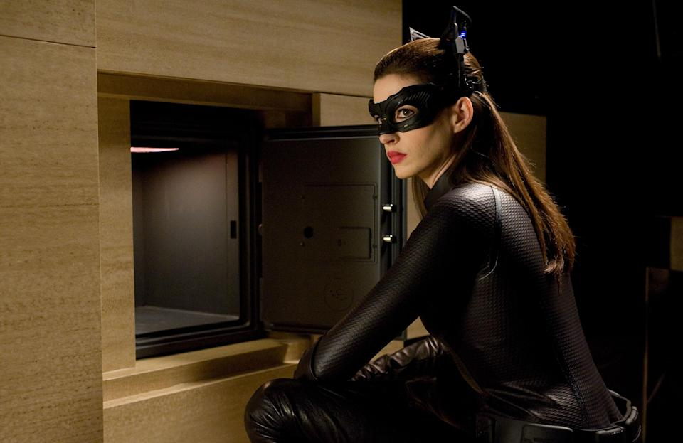 "This undated film image released by Warner Bros. Pictures shows Anne Hathaway as Catwoman in a scene from the action thriller ""The Dark Knight Rises."" (AP Photo/Warner Bros. Pictures, Ron Phillips)"