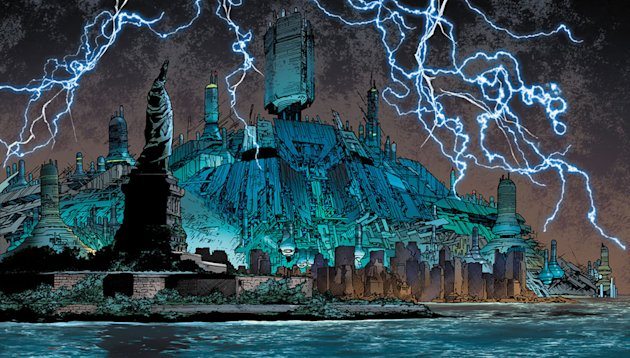 "This comic book image released by Marvel shows an illustration from""Age of Ultron,"" Book One. After years of well-placed warnings that have gone unheeded, the ever-adaptive artificial intelligence that is Ultron has come out on top, turning the planet into a dystopian landscape that is wrecked beyond compare with technology at the top of the food chain. (AP Photo/Marvel)"