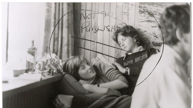 "This image provided by RR Auction shows a photograph marked ""not to be published"" of a teenage Diana Spencer before she became Princess of Wales, with a young friend seated beside her. The print will be featured in a January 2013 auction in New Hampshire. Stamped February 1981 on the back, the photo was taken around the time Charles, the Prince of Wales, and Lady Diana Spencer ended months of speculation and announced they were to be married. (AP Photo/RR Auction)"