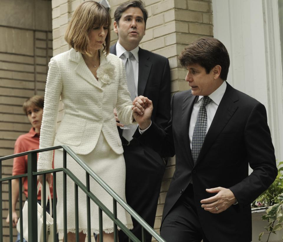 Former Illinois Gov. Rod Blagojevich and his wife, Patti, leave their home Monday, June 27, 2011, in Chicago heading to the federal court after jurors informed the judge that they had reached agreement on 18 of the 20 counts against him in his corruption retrial. (AP Photo/Paul Beaty)