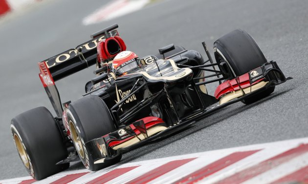 Lotus F1 driver Grosjean of France drives during a training session at Circuit de Catalunya racetrack in Montmelo